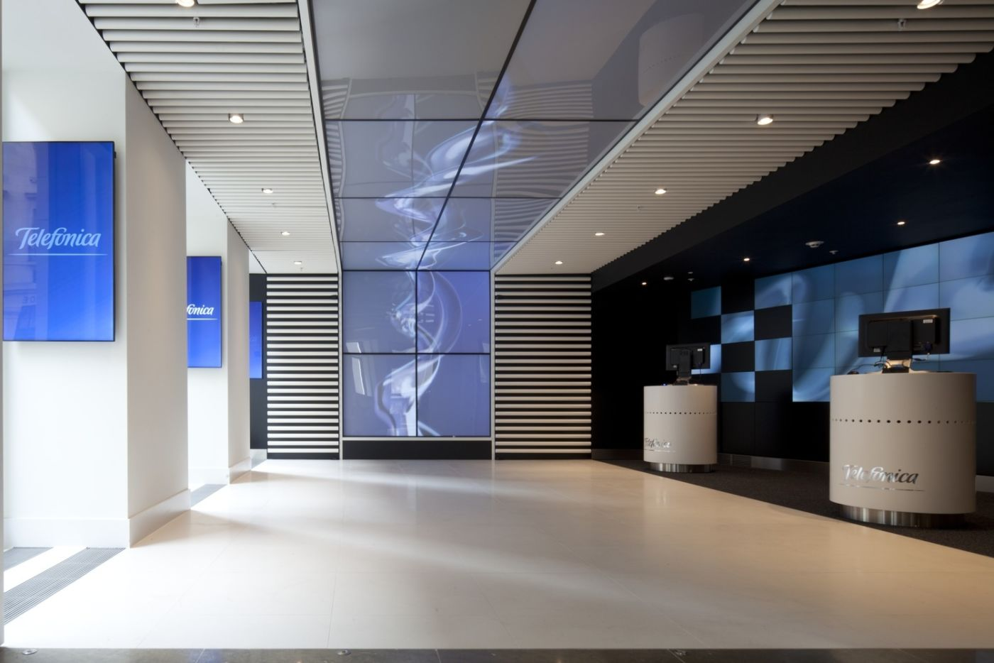 Large screen in reception area