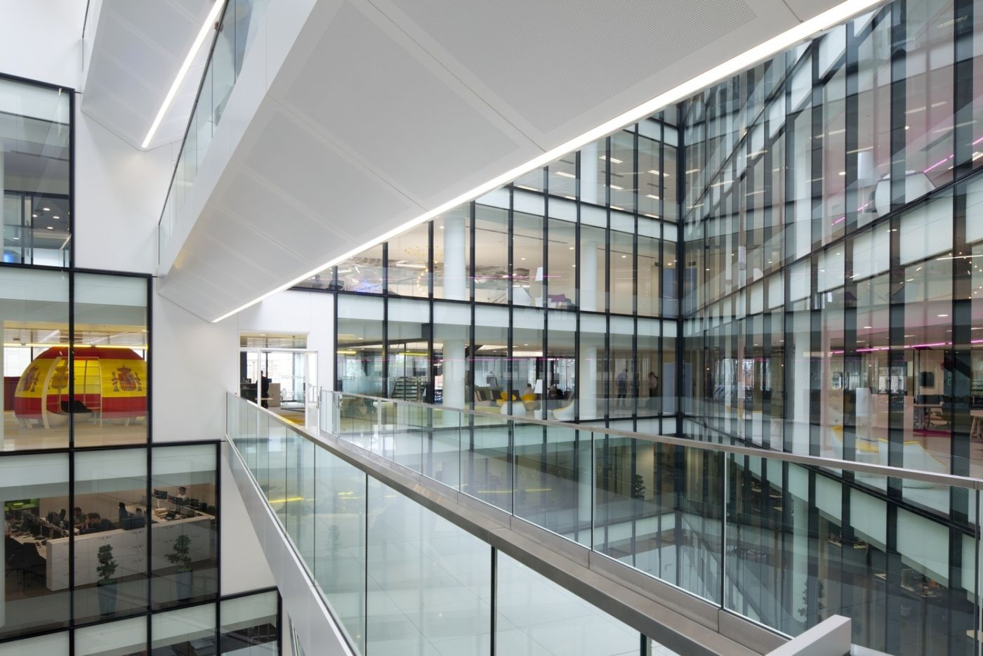 Mezzanine view of all office levels