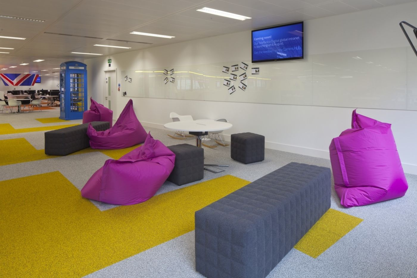 Bright pink beanbag area