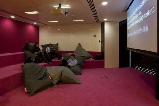 Large projector in beanbag area