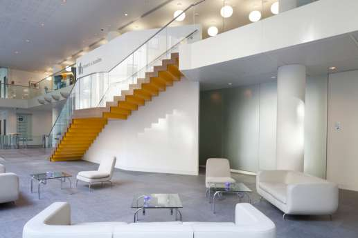 Large staircase by client seating area
