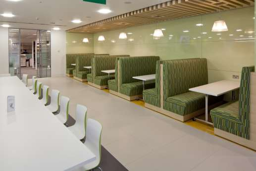 High backed booths in staff seating area