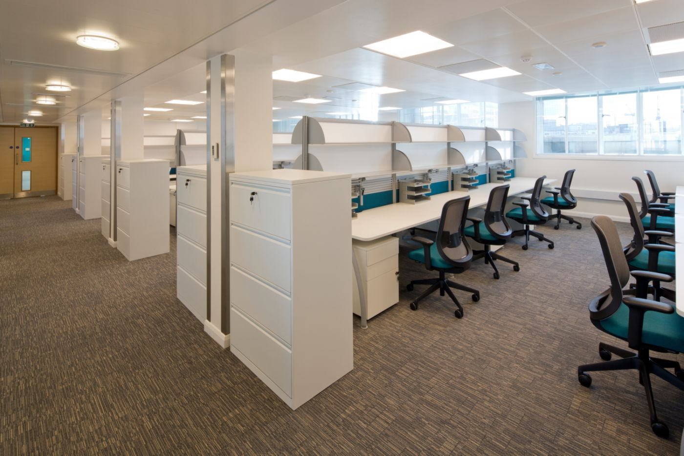 Blue and white office design