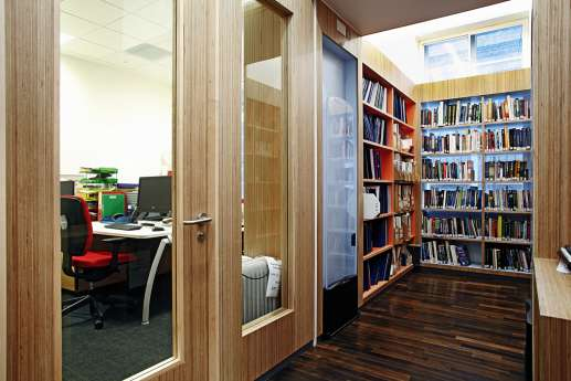 Corner view of library shelves