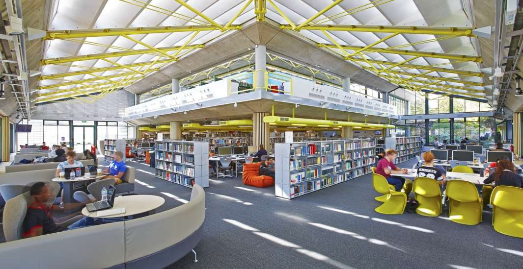 People working in library fit out