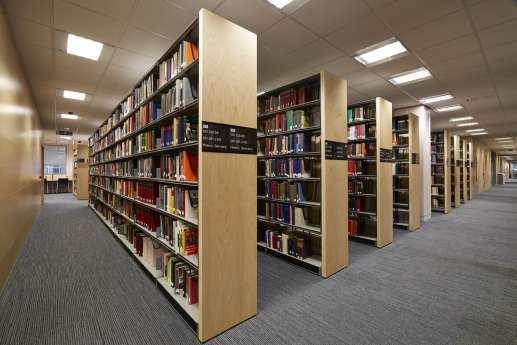 Symmetrical shelves in the library