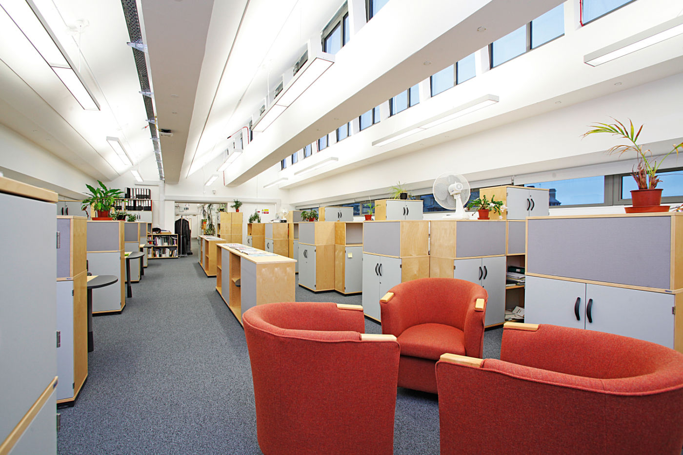 Storage cabinets in staff seating