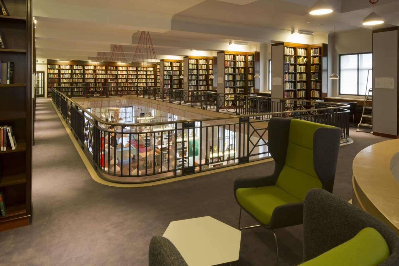 View of library looking down on seating area