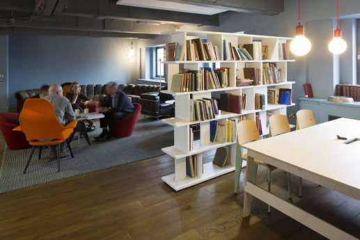 Funky bookshelf in informal seating area