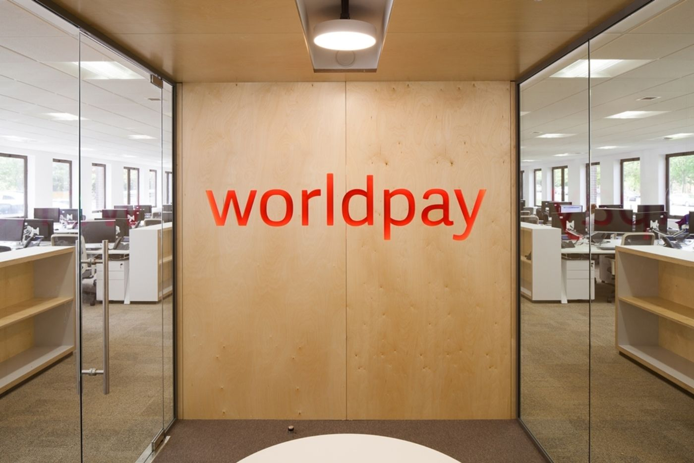 Large Worldpay logo in reception