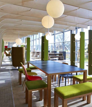 Breakout area with green furniture
