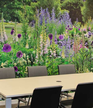 Meeting rooms with lavender wallpaper