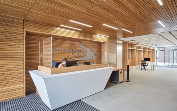 Wood panneled reception fit out