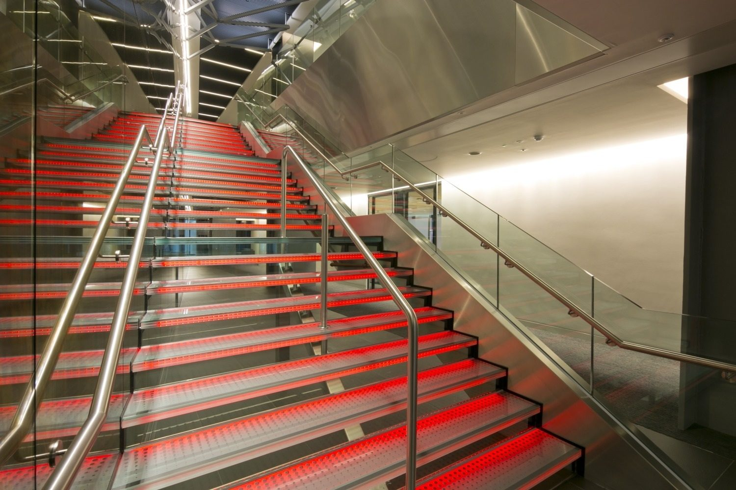 Aon LED lit staircase in cat A fit out