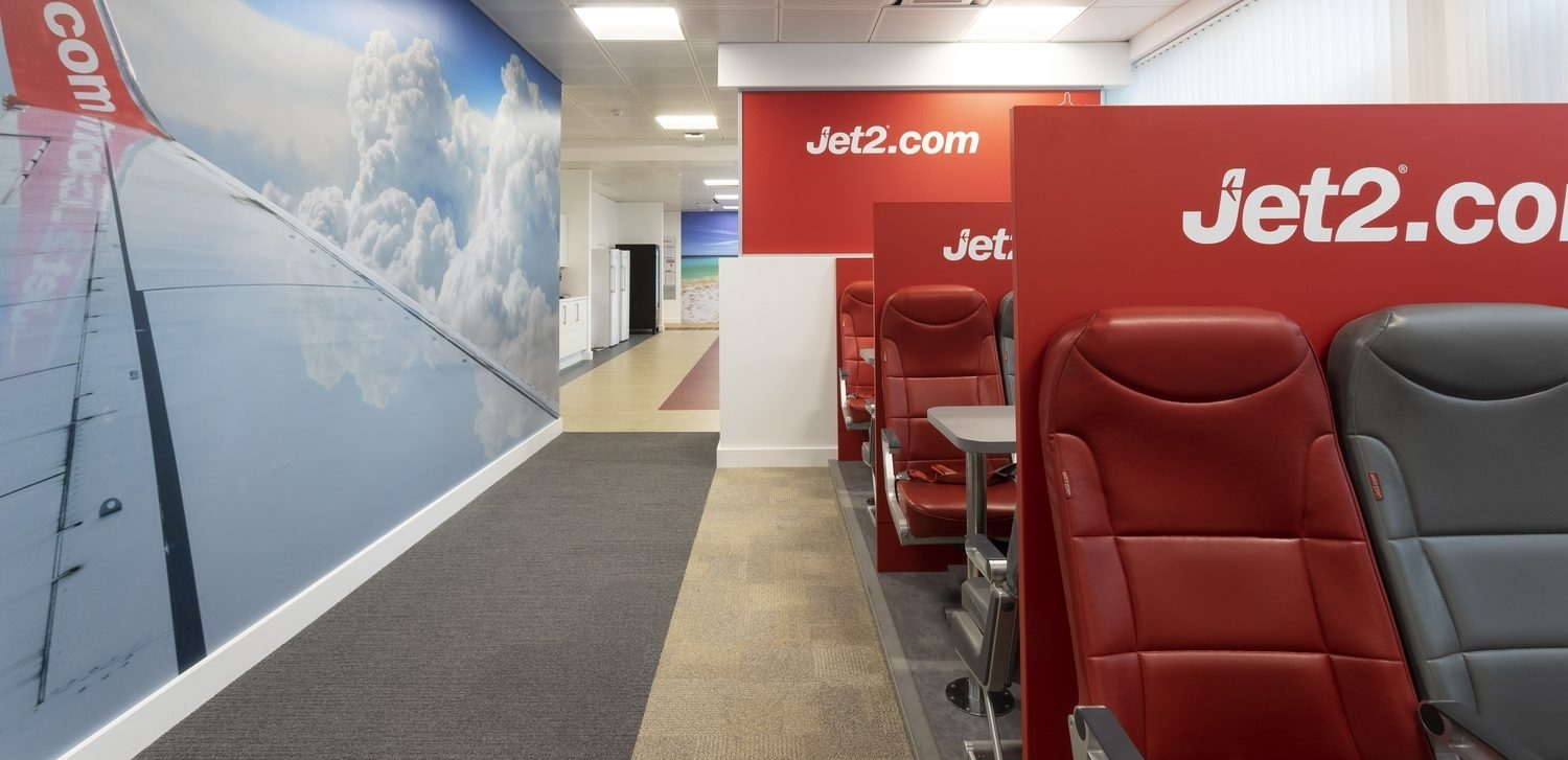 Jet2 meeting booths with aircraft seats