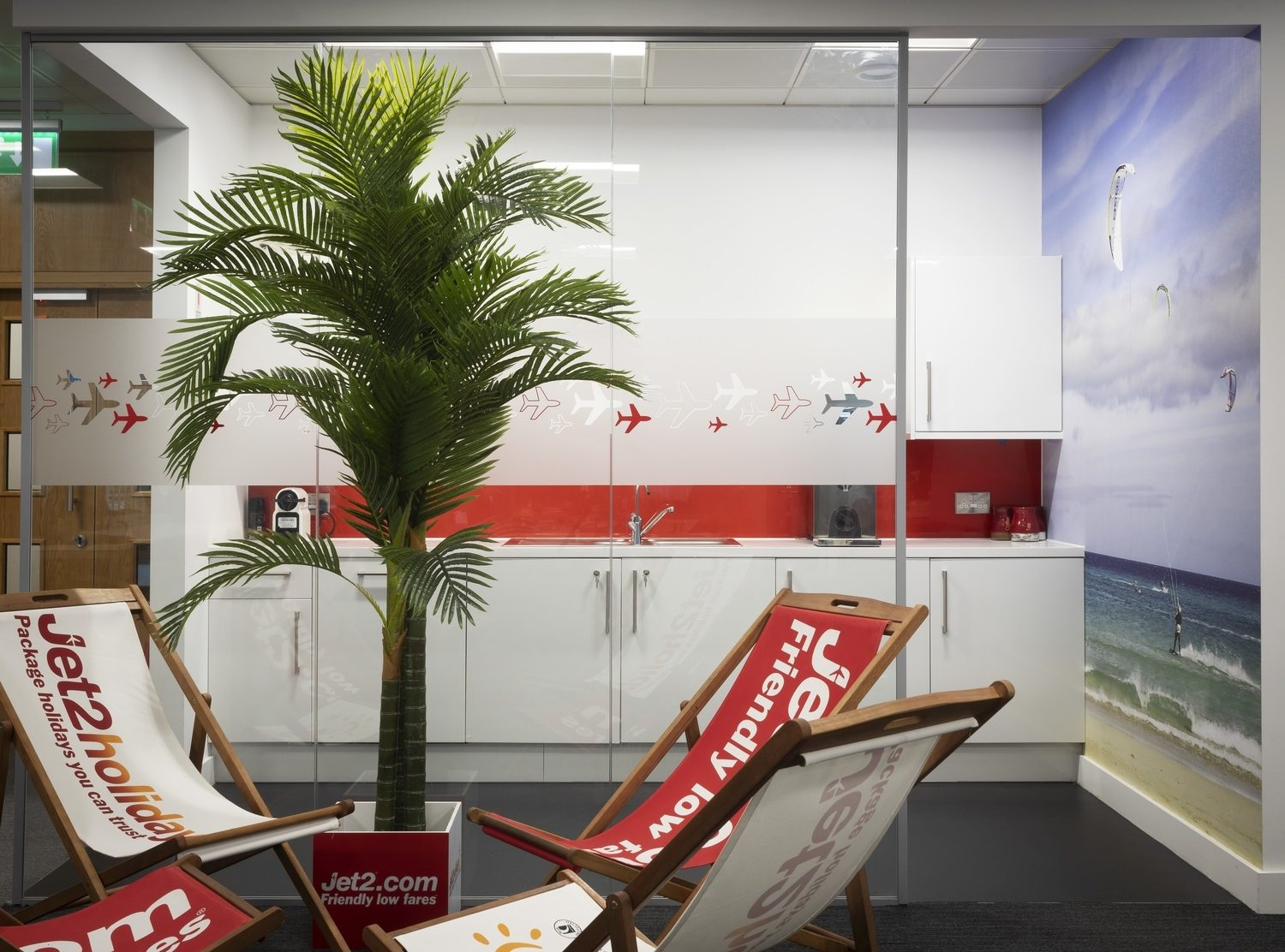 Jet2 office fit out with palm trees