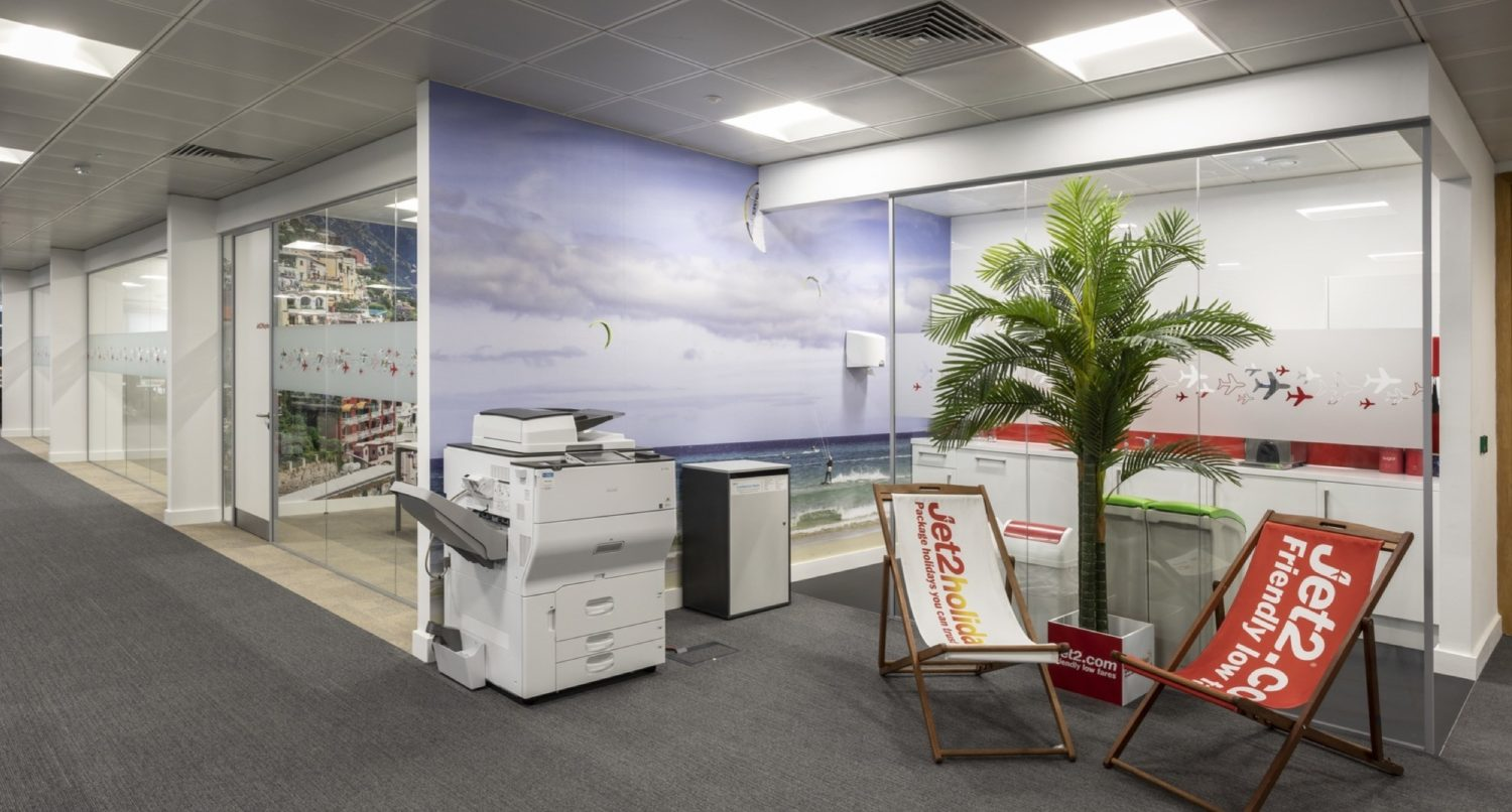 Jet2 deck chairs in breakout space fit out