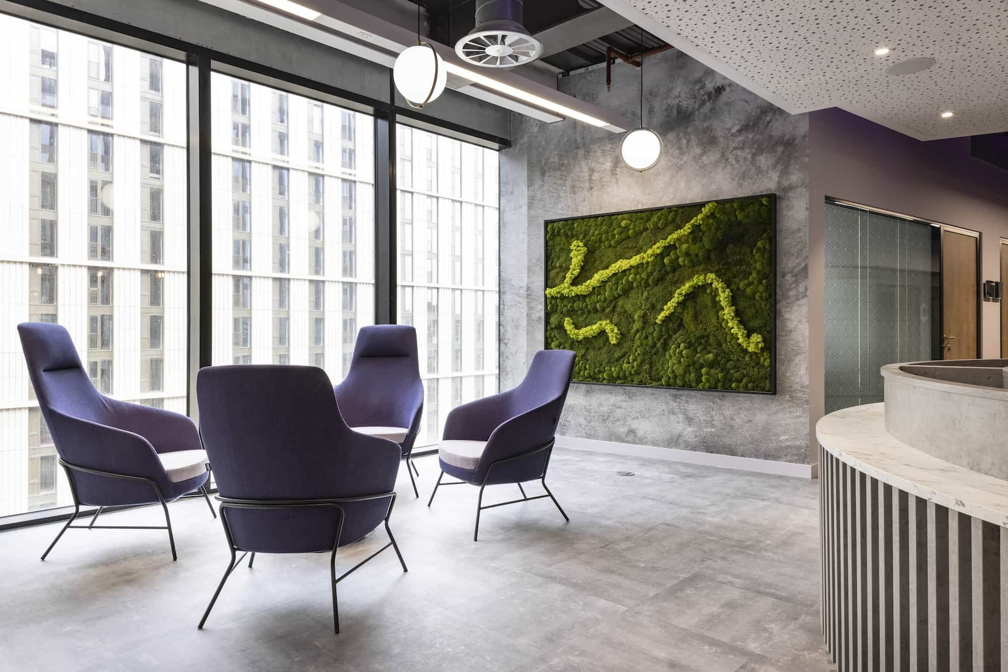 Mills Reeve biophilia wall and seating