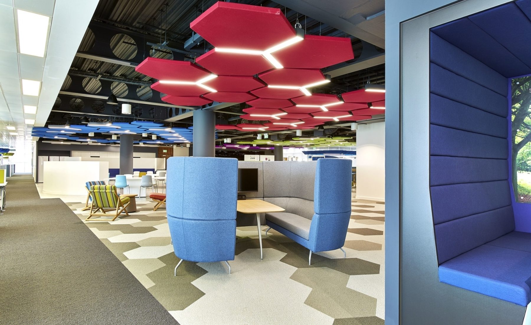 Thales office fit out with hexagonal acoustic panels