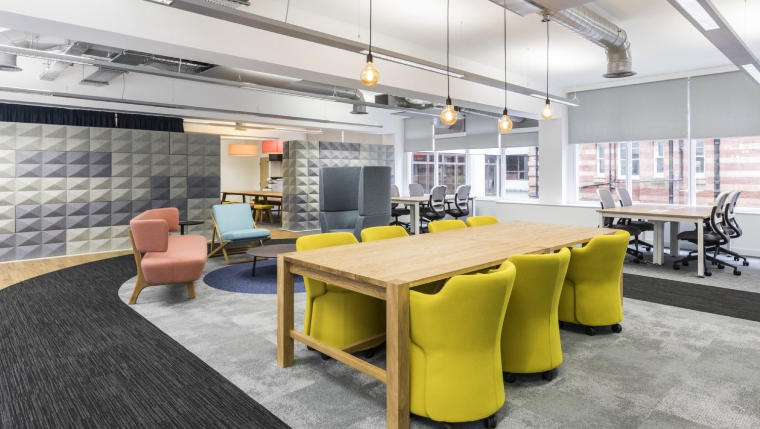 Growth company open space workstations fit out