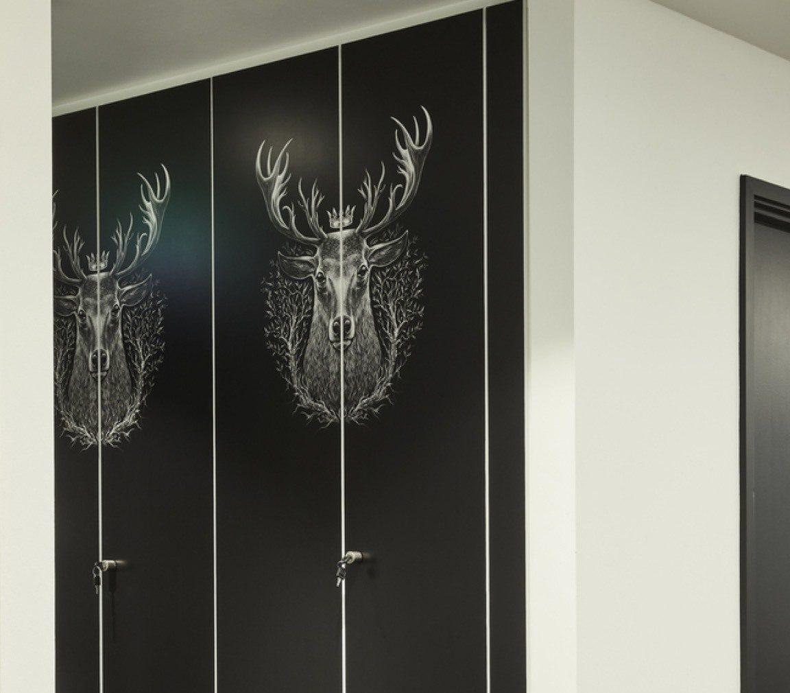 The Hut Group stag print on office storage