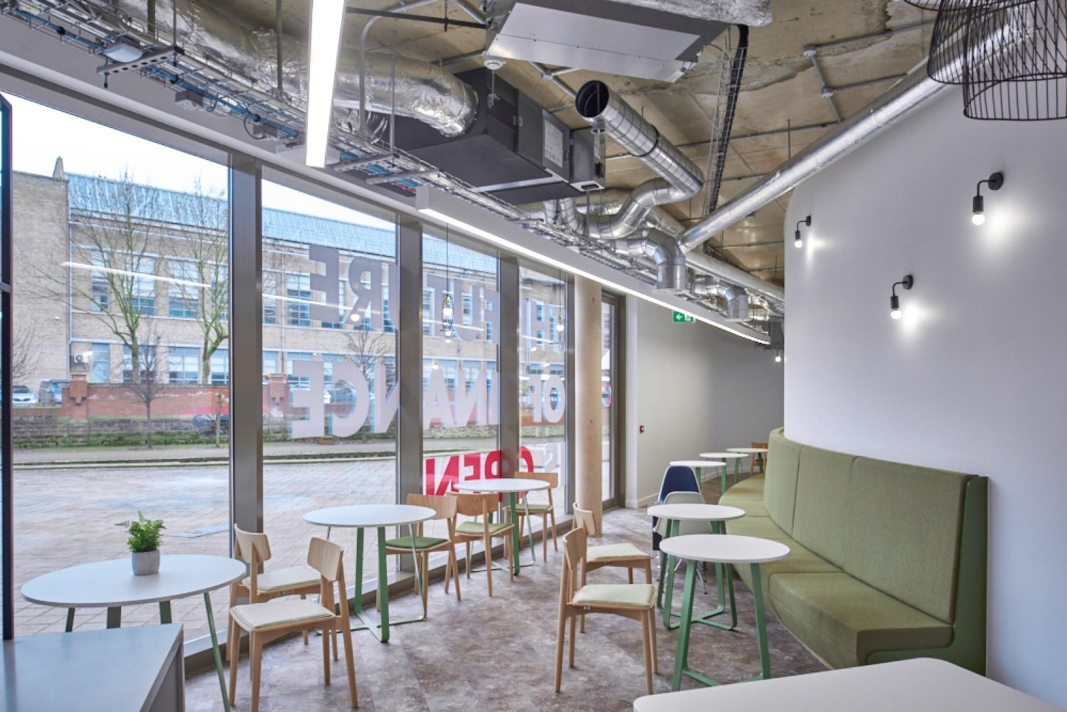 Finastra office cafe seating