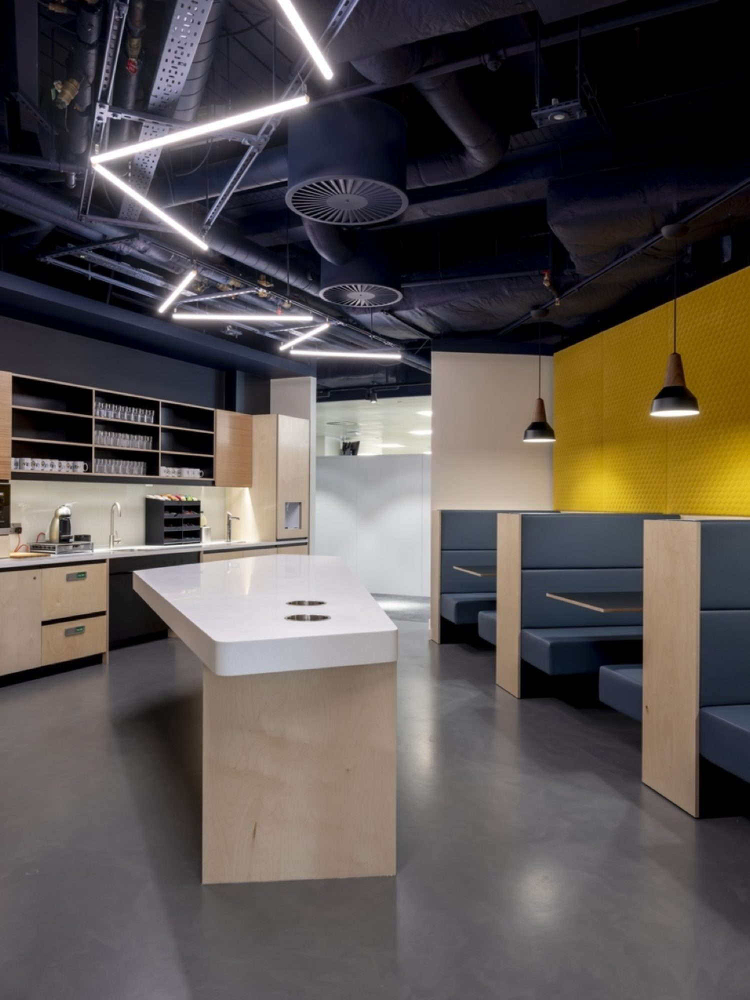 ITV kitchen fit out with exposed services