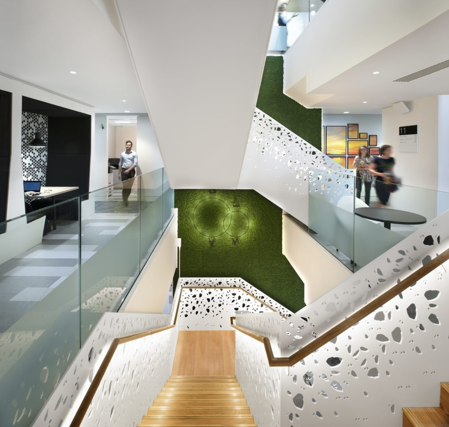 Deloitte staircase with biophilic moss wall