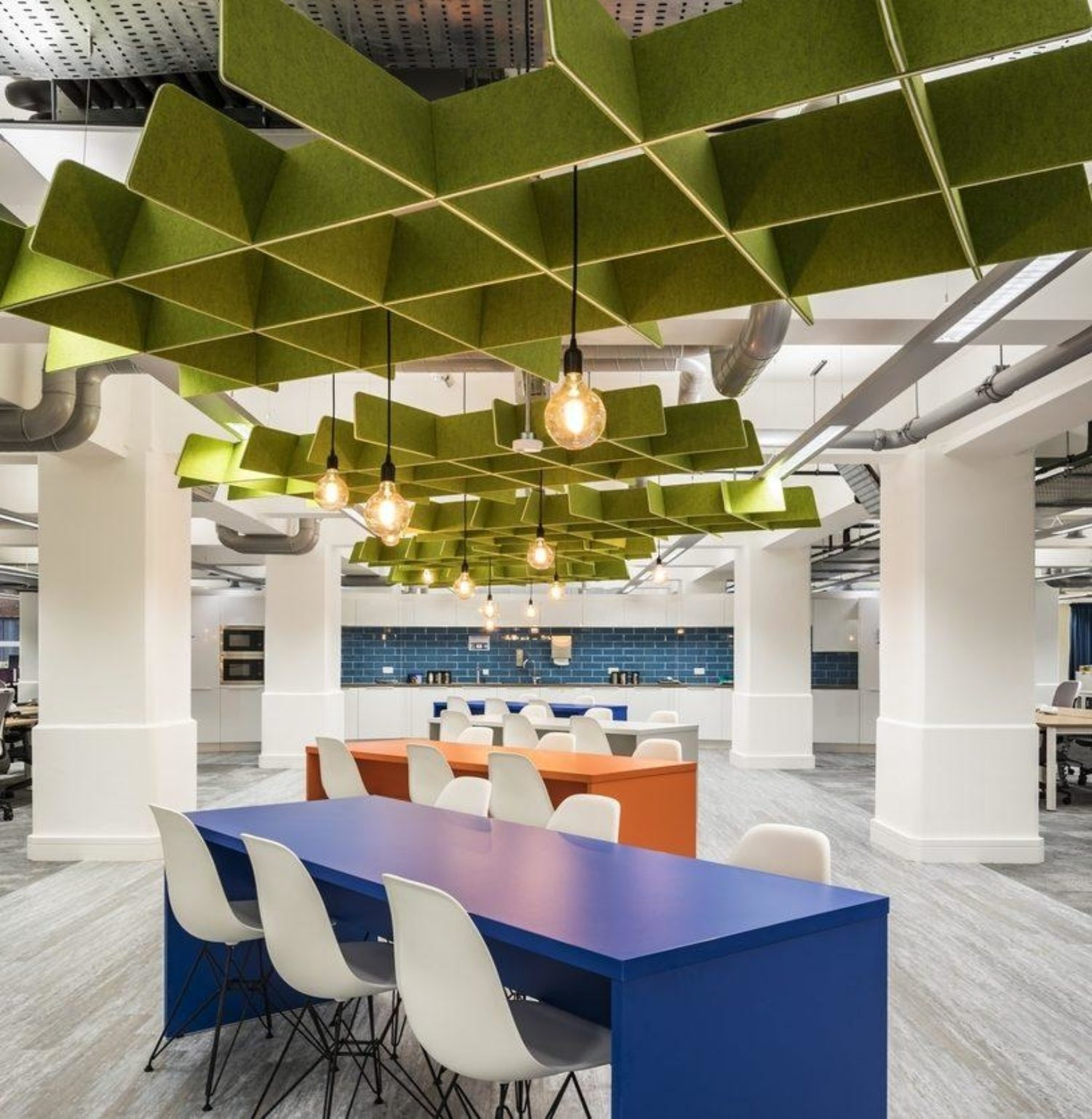 Office communal kitchen acoustic rafts