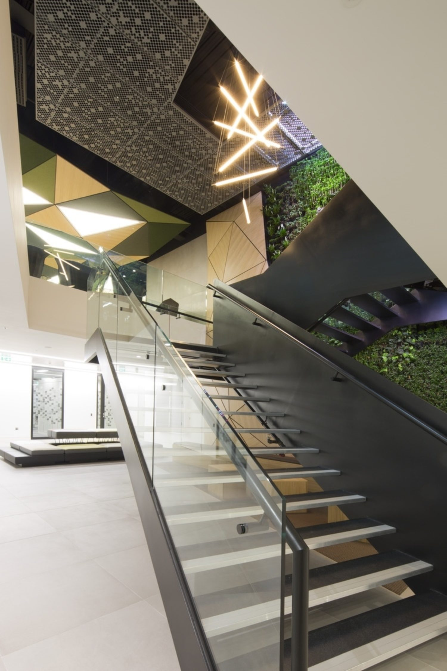 Office staircase with living wall